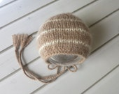 Newborn Tan and Cream Baby Alpaca Classic Knit Bonnet - Ready to Ship Newborn Photography Prop, RTS