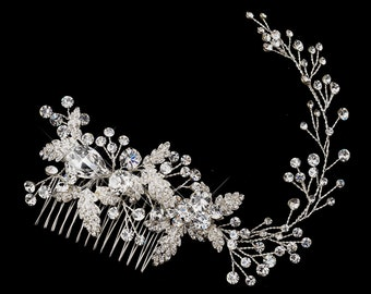 Bridal Hair Comb, Wedding comb, Swarovski Crystal, Bridal Headpiece, Bun Wrap, hair vine, bridal comb, hair jewelry
