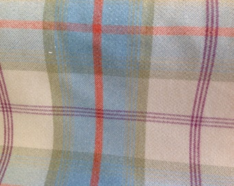 Balmoral wool effect tartan fabric in aqua