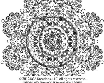 instant pdf download coloring page hand drawn zentangle inspired the crown psychedelic kaleidoscope mandala hippie zendoodle by kat