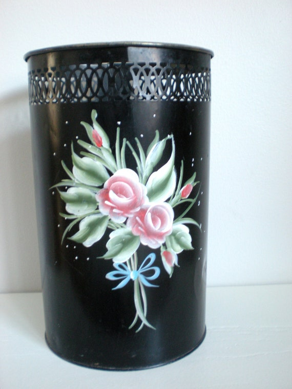 Metal Trash Basket Can Black Decorated Painted Flowers Rose