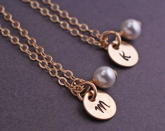 Set of FOUR Personalized Bridesmaid Necklaces, Pearl Jewelry, Bridesmaid Gift