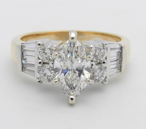 2.02 ct Marquise Diamond Engagement Ring 14K White and Yellow Gold Size 6.25