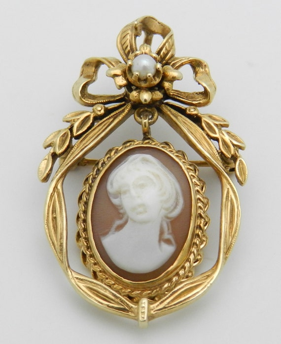 Antique Victorian 14K Yellow Gold Pearl Cameo Dangle Brooch Pin Pendant