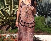 Cotton Dress// Vintage Dress// Vintage Indian Cotton Gauzy Handmade Maxi Dress