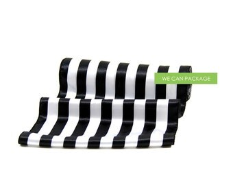 "Black and White Table Runner Stripe 12.5"" x 96"" Silk Satin Chair Sashes"