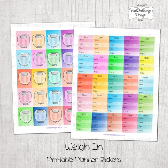Printable Planner Stickers -Weigh In- Perfect for the Erin Condren ...
