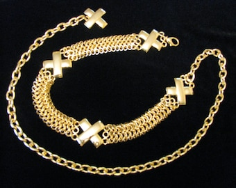 Vintage 1980s Gold Tone Chain Belt Adjustable with Cross Design