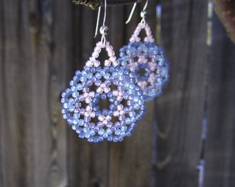 Mountain Sunset Mandala Earrings - Huichol Style - Pink Blue and Purple Pastel Seed Beaded - Hand Made in USA