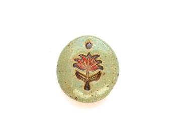 Aqua and Red Flower Pendant Handmade Stoneware  Ceramic