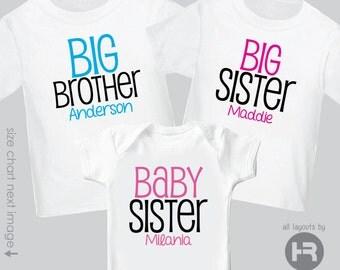 Monogram Big Brother Shirt, Big Sister Shirt & Baby Sister Shirt or Bodysuit - 3 Personalized Sibling Shirts - Pregnancy Announcement Shirts