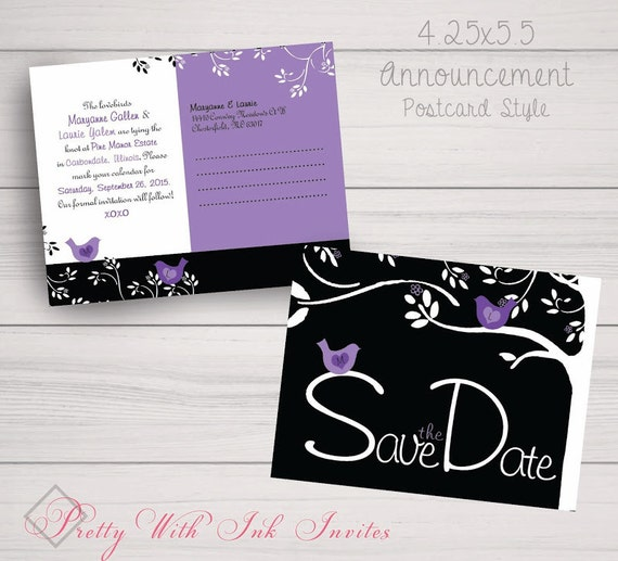 Wedding,Shower,Engagement, Save the Dates, Magnets. Mod Birdies, Lovebirds, Wisteria, Carved Tree, Purple, Black. Samples/Printing/DIY