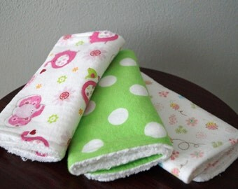 Baby Girl Burp Cloths - Elephants & Ladybugs - Green, Pink - Burp Cloth Baby Gift - Bright and Fun Burp Cloth Set