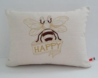 "BE HAPPY 12"" x 16"" lumbar custom embroidered pillow cover Sunbrella vellum indoor outdoor home decor decorative Oba Canvas Co"