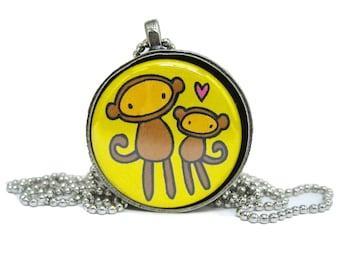 Monkey Madness Magnetic Necklace Set - Set of 3 Primate Pendants - Chimpanzee, Lemur, Monkey Necklace