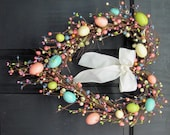 Spring Wreath - Easter Wreath - Pastel Spring EGG Mix Pip Berry Wreath  - Primitive Wreaths - Easter Home Decor - Easter Egg Heart Wreath