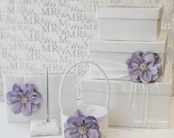 Wedding Card box, Guestbook & Pen Set and  Flower Girl Basket
