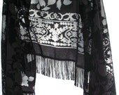 Fringe Shawl Floral Wrap ~ Black Velvet Burnout ~ Vintage Flowers ~ Bohemian Gypsy Chic Style