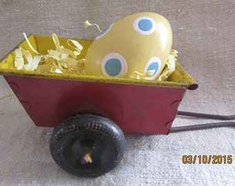 Vintage MetalToy Cart,with Metal Tires, Easter Decor, Vintage toys,Metal Toys,Red Metal Cart, Toy Cart, Doll-Size cart