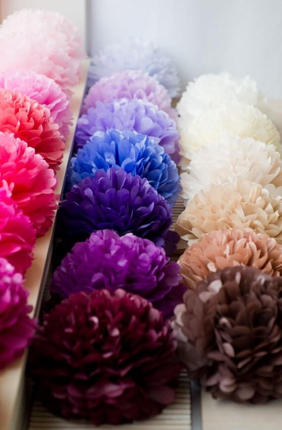 5 large tissue pom poms pick your colors wedding for Pom pom room decor