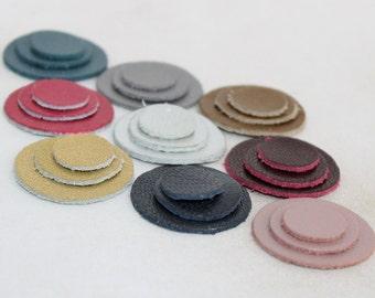 27 pcs  Metallic Colors Leather Circles