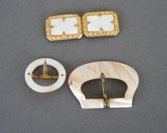Vintage Mother of Pearl Buckles Assorted