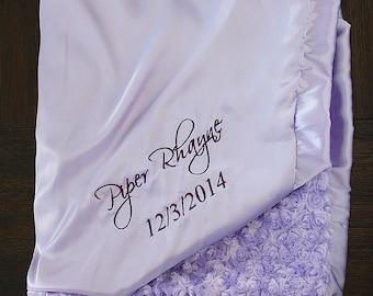 Minky Blanket, Satin Blanket, Lavender blanket, baby girl, Elegant blanket, Embroidered Blanket, Blanket with Name, Engraving Etched blanket