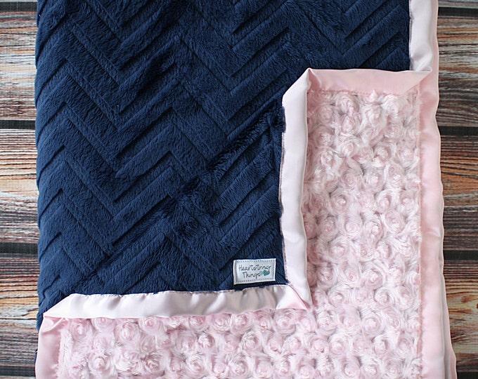 Minky Blanket, Baby girl, blanket for boy, Chevron Blanket, navy and pink, soft blanket, Gift for girl, Embossed chevron, lovie, woobie