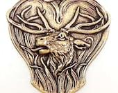 Brass Stampings, Deer Stampings, Stag Stamping,  Brass Ox, US Made, Nickel Free, 47 x 47mm Item01403