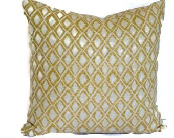Nate Berkus Gold Wood Block Diamond Decorative Pillow Cover, 18x18, 20x20, 22x22 or lumbar pillow, Accent Pillow, Throw Pillows,