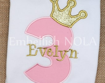 Light Pink and Gold Princess Glitter Crown Number Appliqued Birthday Shirt