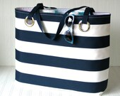 Nautical Beach Bag Navy Stripes Monogram Extra Large Beach Tote  Vacation Cruise Pool Ocean Carry On Bag Sailor Stripes Cabana Stripes