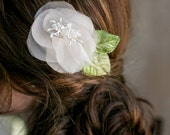 SAMPLE SALE Pink blush bridal flower fascinator, green leaves, organza, blush flower with stamens center, natural looking, FA145