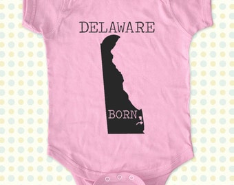 DELAWARE BORN map Baby One-Piece, Infant Tee, Toddler, Youth Shirts