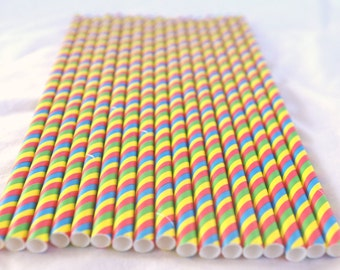 Multi Stripe Primary Color Paper STraws----Parties---25ct with Free Printable diy Flags