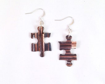Puzzle Piece Earrings / Brown and Gray Stripes / Upcycled Jewelry / Rustic