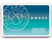 Hero Arts Ombre Pool to Navy Ink AF308 ink pad, paper craft, card making, mixed media