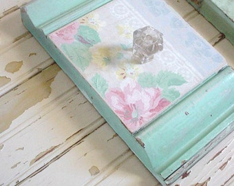 Chippy Aqua Architectural Salvage Plinth Wall Hook Jewelry Holder Coat Rack Cottage Shabby Chic Vintage Wallpaper