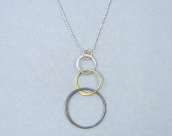 Mixed Metal Necklace - Three Circle Sterling Silver Bronze Oxidized Silver Pendant Necklace