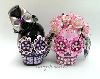 Skull black and pink rose weddings cake topper handmade bride and groom