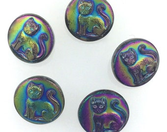 Czech Glass Button Cat with Rainbow AB 13mm 5 Pieces