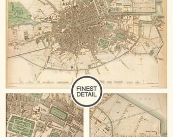 Vintage Wall map of Dublin, Ireland - interior map design, home decor - 116