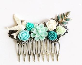 Mint Wedding Hair Comb Bridesmaids Gift Bridal Hair Pin Head Piece Vintage Style Shabby Chic Romantic Autumn Winter Spring Summer