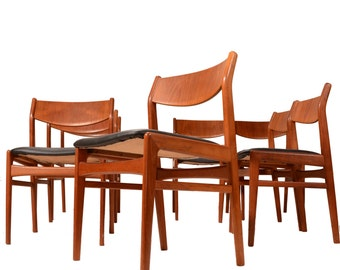 8 DUX Modern Dining Chairs in Teak and Leather By Folke Ohlsson
