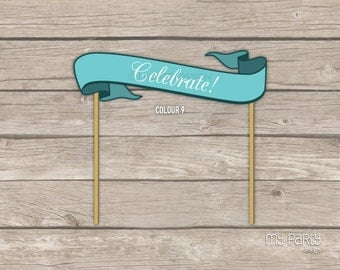 PRINTABLE Banner - Cake topper - Choose your colour and wording!
