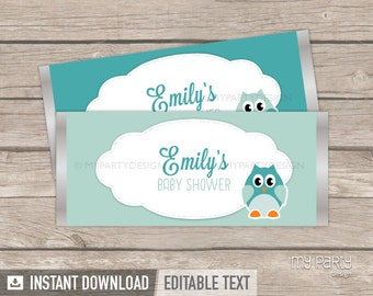 Owl Boy Baby Shower Chocolate Wrappers - Mint Teal - INSTANT DOWNLOAD - Printable PDF with Editable Text
