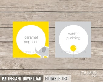 Elephant Party - Food Labels - Placecards - Grey Yellow - INSTANT DOWNLOAD - Printable PDF with Editable Text