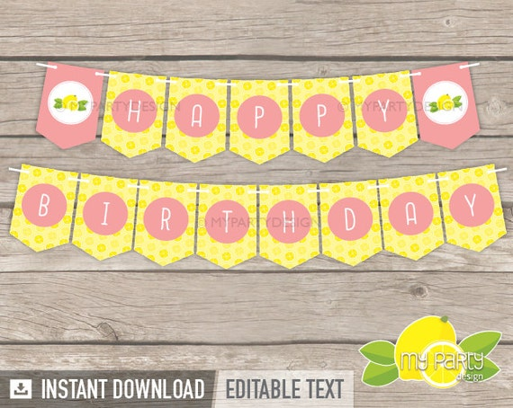 lemonade party happy birthday banner yellow peach pink