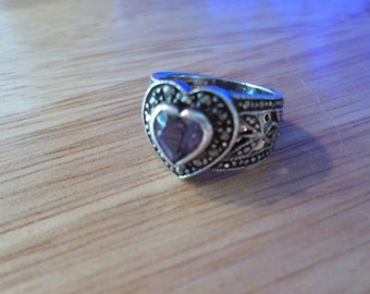 Sterling Silver Purple Heart Ring