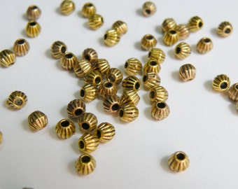 50 Corrugated bicone beads antique gold double cone 3.5x4mm PGLF0300Y